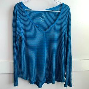 AE Blue & Black Striped Soft & Sexy Long Sleeve